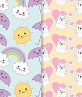 gatinhos fofos com conjunto de padrões kawaii de coração e arco-íris