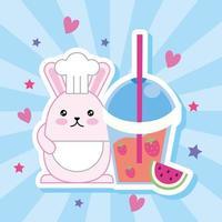 Coelhinho fofo kawaii com smoothie de morango