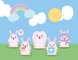 coelhinhos fofos ao ar livre, personagens kawaii