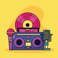 Boombox microfone de vinil música fundo colorido vetor