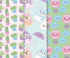 conjunto de padrão fofo kawaii