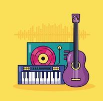 fundo colorido de sintetizador, guitarra e toca-discos musical