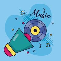 megafone disco de vinil música fundo colorido vetor