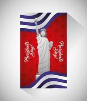 cartaz de celebração do feliz dia do presidente com estátua americana
