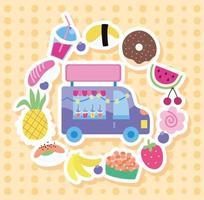 caminhão de sorvete com ícones no estilo kawaii