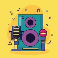 microfones alto-falante música fundo colorido