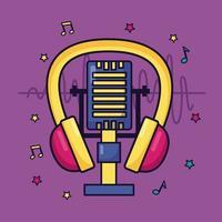 fones de ouvido microfone música fundo colorido vetor