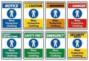 usar sinal de roupas de proteção no fundo branco