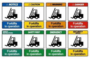 empilhadeiras em operação símbolo sinal isolado em fundo transparente vetor