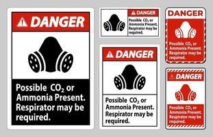 Perigo sinal ppe possível CO2 ou amônia presente, respirador pode ser necessário vetor