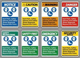 capacetes, óculos de segurança e sapatos de segurança necessários além deste ponto com o símbolo ppe vetor