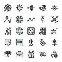 ícones de contorno de design de marketing empresarial com tom de cor cinza escuro.