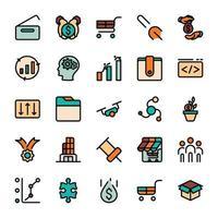 ícones de contorno de design de marketing de negócios com preenchimento de cor. vetor