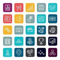 negócios marketing on-line ou benefício de investimento financeiro ou ícones de retorno com contorno na forma quadrada de cor infográfico de vetor.