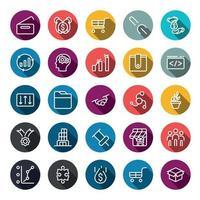 negócios marketing on-line ou benefício de investimento financeiro ou ícones de retorno com contorno na forma de cor do círculo e sombra longa. infográfico de vetor.
