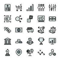 ícones de contorno de design de marketing empresarial com tom de cor cinza escuro. infográfico de vetor.
