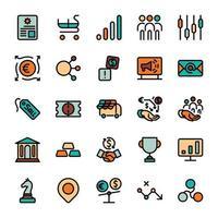 ícones de contorno de design de marketing de negócios com preenchimento de cor. infográfico de vetor.
