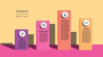 infográficos de design plano quadrado para marketing, apresentando novas idéias e ideias. projeto infográfico do vetor. vetor