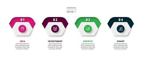 Os infográficos do hexágono fornecem planos de marketing, análise de operações e negócios. projeto infográfico do vetor.