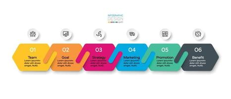 o novo design hexagonal conecta 6 estágios de negócios, marketing e planejamento. projeto infográfico.
