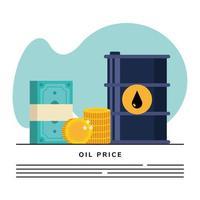 modelo de banner de barril de óleo com ícones de dólares de dinheiro vetor