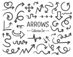 desenho de linha desenhado à mão livre conjunto de setas isolado no fundo branco vetor