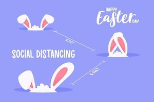 orelhinhas de coelho no distanciamento social do buraco. o conceito de quarentena e espaçamento social.