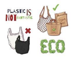 vetor de sacolas reutilizáveis
