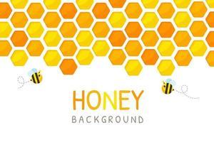 papel hexagonal ouro amarelo favo de mel corte fundo de papel com abelha e doce mel dentro.