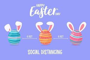 ovos pintados com orelhas de coelho a distância social para proteger contra vírus de Páscoa para as crianças