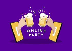 festa online. duas mãos segurando cerveja em um telefone celular. comemore com os amigos em casa com videochamada. conceito de distanciamento social. vetor