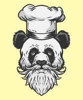 ilustração do chef panda vetor