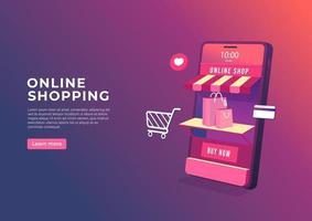 compras online no banner de aplicativo móvel. Loja online 3D no modelo de banner do telefone móvel. vetor