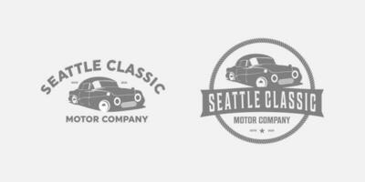 design de logotipo vintage de carro antigo vetor