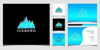 modelos de logotipo iceberg e vetor premium de design de cartão de visita