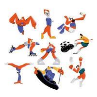 atletas praticando esportes set vetor