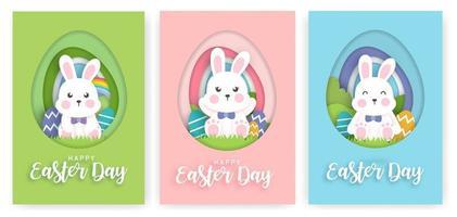 conjunto de cartões de dia de Páscoa com coelho fofo no estilo de corte de papel. vetor