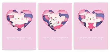 conjunto de cartões do dia dos namorados com ursinhos cupidos fofos vetor