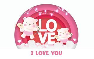 cartão de dia dos namorados com ursos fofos Cupido e texto de amor. vetor