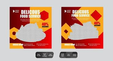 restaurante comida mídia social banner post conjunto de modelos de design vetor