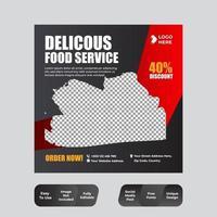 restaurante comida mídia social banner post modelo de design vetor