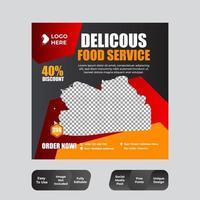 modelo de banner de postagem de mídia social de alimentos vetor