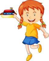personagem de desenho animado de garota feliz segurando um navio de brinquedo vetor