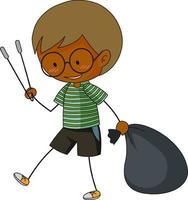 um doodle menino limpando o lixo personagem de desenho animado isolado vetor