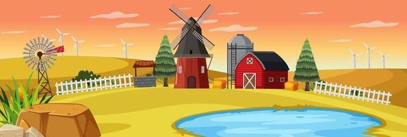 cena de fazenda rural ao pôr do sol vetor