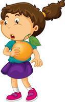 uma garota segurando um personagem de desenho animado de fruta laranja isolado no fundo branco vetor