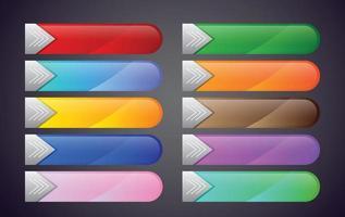 coleção de botões coloridos. vetor