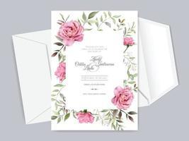 lindos e elegantes modelos de cartão de convite de casamento floral vetor