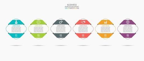 modelo de infográfico de negócios de linha fina de formato quadrado com 6 opções vetor