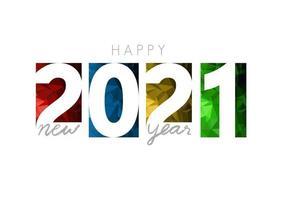 feliz ano novo 2021, banner horizontal. folheto ou modelo de design de capa de calendário. capa do diário de negócios para o ano de 2021. a arte do corte de papel. vetor